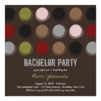 Fuzzy Color Disco Dots Bachelor Party Invitation