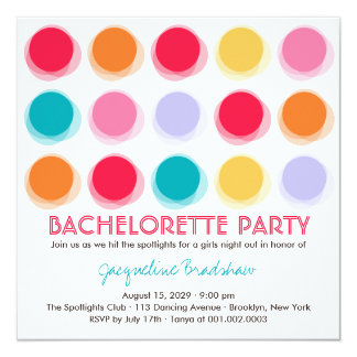Fuzzy Color Disco Dots Bachelorette Party Invite Custom Announcements