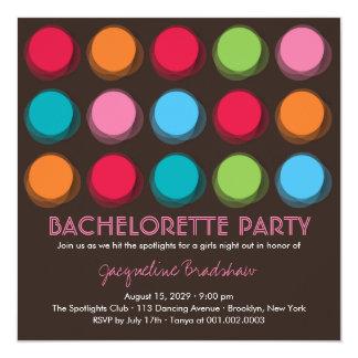 Fuzzy Color Disco Dots Bachelorette Party Invite Personalized Invites
