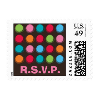 Fuzzy Color Dots Fun Custom RSVP /Save Date Stamps