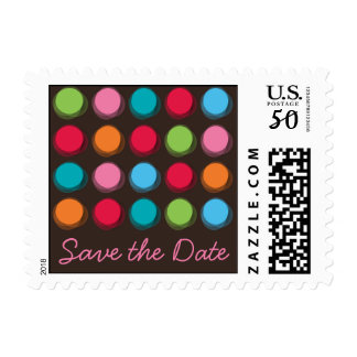 Fuzzy Color Dots Fun Custom Save The Date Stamps