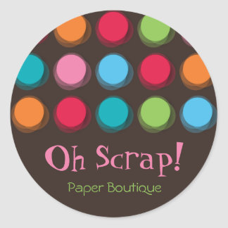 Fuzzy Color Dots Fun Party Favors Label Stickers