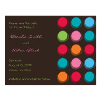 Fuzzy Color Dots Save The Date Wedding Postcard
