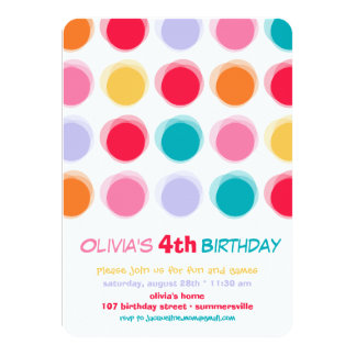Fuzzy Colorful Cute Dots Kids Girl Birthday Invite