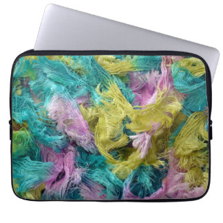Fuzzy colorful strands of yarn print laptop sleeve