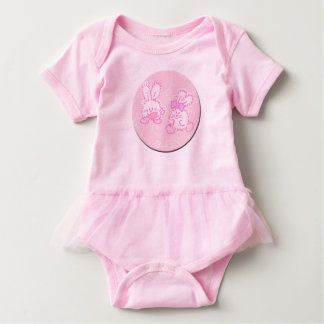 Fuzzy Cotton Tail Bunnies Baby Bodysuit