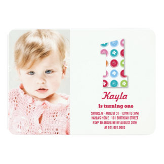 Fuzzy Daisies Color Dots 1st Birthday Party Photo Personalized Invitation