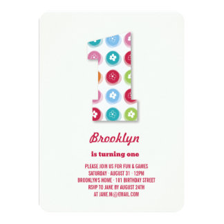Fuzzy Daisies Color Dots 1st Birthday Party Photo Personalized Announcement