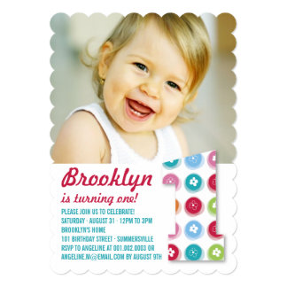 Fuzzy Daisies Color Dots 1st Birthday Party Photo Announcement