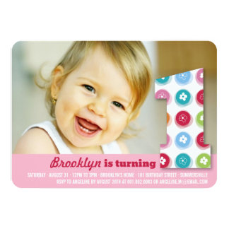 Fuzzy Daisies Color Dots 1st Birthday Party Photo Personalized Invites