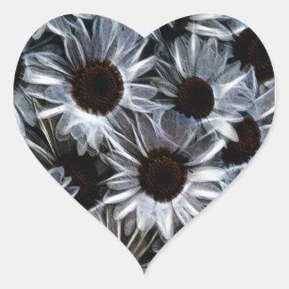 Fuzzy daisies heart sticker