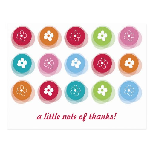 Fuzzy  Daisy Dots Kids Birthday Thank You Postcard Postcard