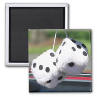 Fuzzy Dice 2 Inch Square Magnet