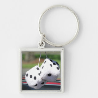 Fuzzy Dice Silver-Colored Square Keychain