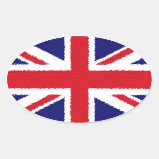 Fuzzy Edge Painted Union Jack Flag Oval Sticker