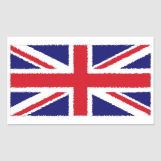 Fuzzy Edge Painted Union Jack Flag Rectangular Sticker