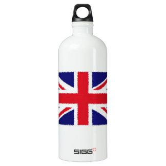 Fuzzy Edge Painted Union Jack Flag Water Bottle