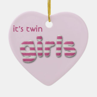 fuzzy girls Double-Sided heart ceramic christmas ornament