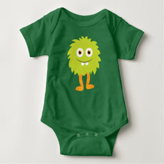 Fuzzy Green Monster Baby One Piece Baby Bodysuit