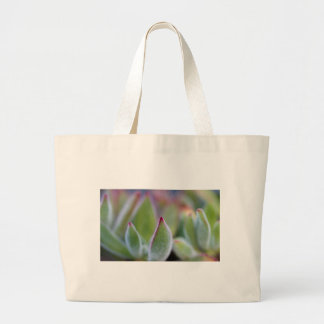 Fuzzy Green Succulent Leaves Macro Large Tote Bag
