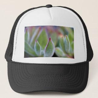 Fuzzy Green Succulent Leaves Macro Trucker Hat