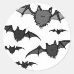 Fuzzy Grey Bats Classic Round Sticker