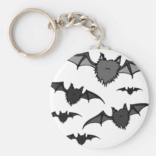 Fuzzy Grey Bats Key Chains
