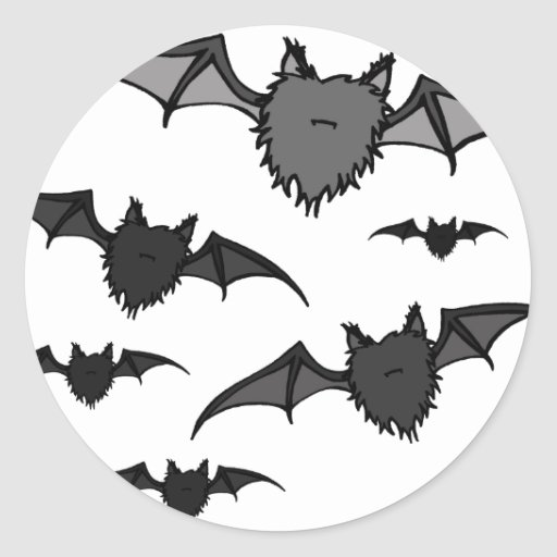 Fuzzy Grey Bats Stickers