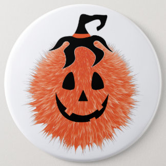 Fuzzy Halloween Pumpkin Button