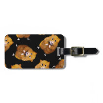 Fuzzy Hamster Pattern on Black, Original Art Bag Tag