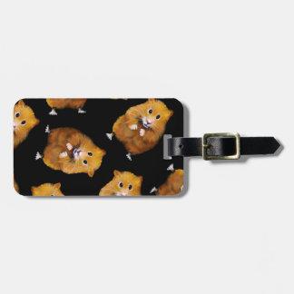 Fuzzy Hamster Pattern on Black, Original Art Bag Tag