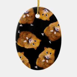 Fuzzy Hamster Pattern on Black, Original Art Ceramic Ornament