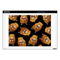 Fuzzy Hamster Pattern on Black, Original Art Decals For Laptops
