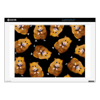 Fuzzy Hamster Pattern on Black, Original Art Decals For Laptops