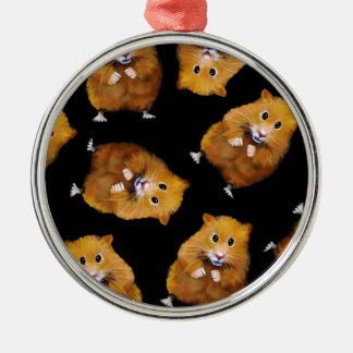 Fuzzy Hamster Pattern on Black, Original Art Metal Ornament