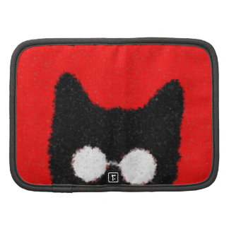 Fuzzy Hipster Cat with Glasses – red & black Folio Planner