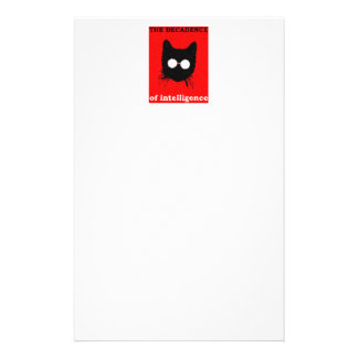 Fuzzy Hipster Cat with Glasses – red & black Stationery
