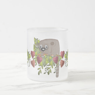 Fuzzy Lemur and Hearts 10 Oz Frosted Glass Coffee Mug