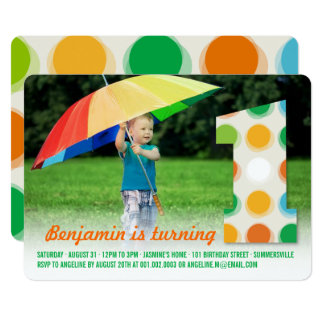 Fuzzy Modern Color Dots 1st Birthday Party Photo Card