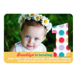 Fuzzy Modern Color Dots 1st Birthday Party Photo Personalized Invite