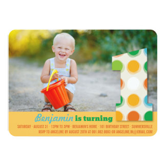 Fuzzy Modern Color Dots 1st Birthday Party Photo Personalized Announcements