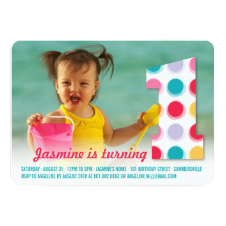 Fuzzy Modern Color Dots 1st Birthday Party Photo Invitations