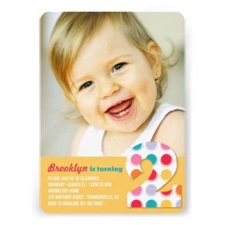 Fuzzy Modern Color Dots 2nd Birthday Party Photo Cards