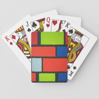 Fuzzy Mondrian Green and Orange Pattern Playing Cards
