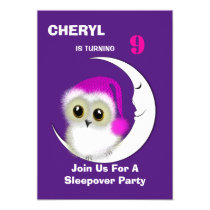 Fuzzy Night Owl Sleepover Personalized Card