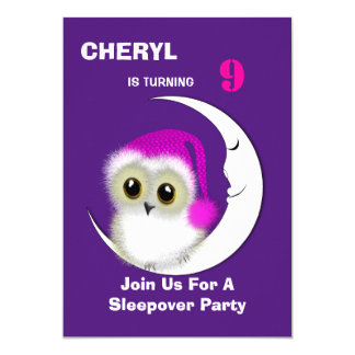 Fuzzy Night Owl Sleepover Personalized Card
