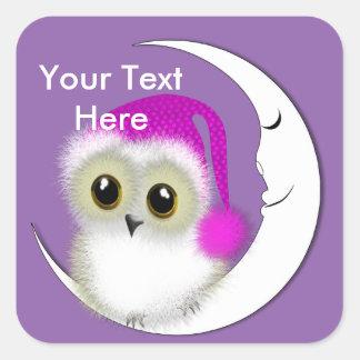 Fuzzy Night Owl Sleepover Personalized Square Sticker