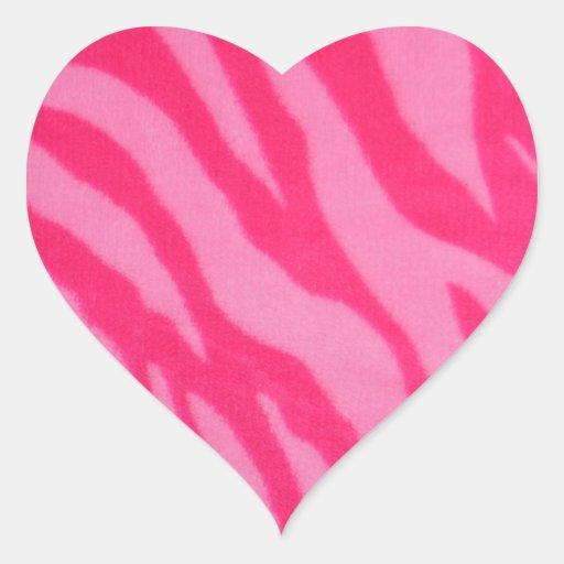 Fuzzy Pink Zebra Stripes Heart Stickers