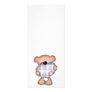 fuzzy plaid heart love bear rack card design