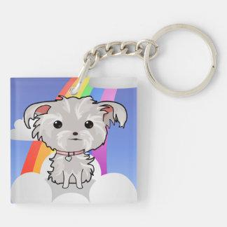 Fuzzy Puppy and Rainbow Keychain